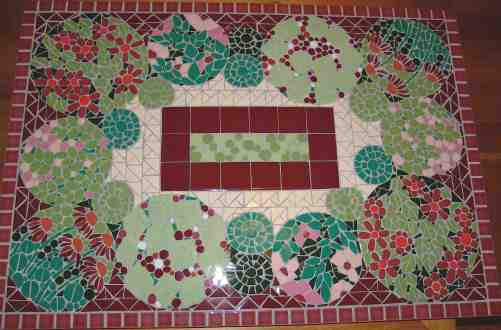 Commission for coffee table top combining garden theme with Victorian colour scheme