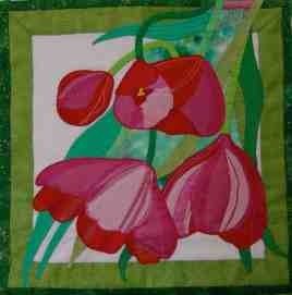 Textile version of a mixed media painting