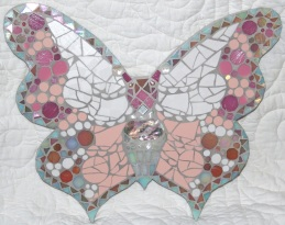 Large butterfly mosaic featuring pearl shell