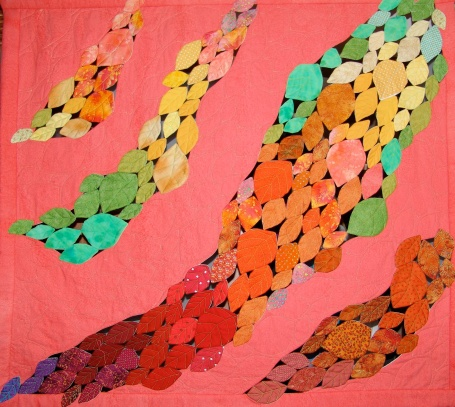 Window blind with Smokebush autumn leaves