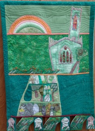 Wall hanging combining elements from drawings done in a Manchester churchyard