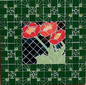 Mosaic mirror with poppies with a Victorian tile themed frame